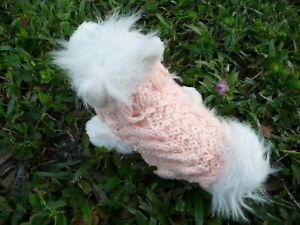 XS handmade knit Peach Pastel dog sweater