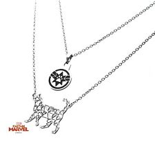 Captain Marvel Goose Cat 2-Tiered Stainless Steel Necklace Official Merchandise