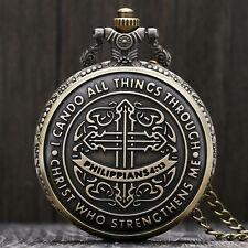 Bronze Philippians 4:13 Men Boy Quartz Pocket Watch 80cm Necklace Chain Gift Bag