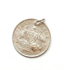 Antique George V Silver 1921 THREE PENCE COIN Charm Pendant 1.5g