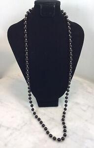 "Black Onyx 14k Gold Bead Necklace New 33"""