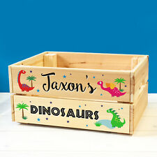 Personalised Kids Toy Dinosaurs & Dragons Wooden Storage Toy Box Crate For BOY