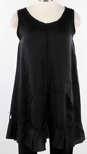 Skif International Harper Tunic Tank Ruffle Dress Layering Black Rayon O/S $214