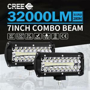 7inch CREE LED 2x Work Light Bar Spot Flood Work Driving Lights OffRoad 4WD