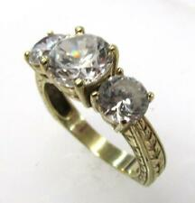 Cz Cubic Zirconia Engraved Ring Size 8 10K Yellow Gold Ppf Three Stone Round