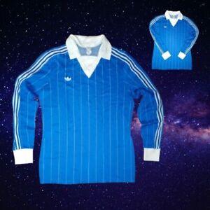 FABULOUS BLUE ADIDAS VINTAGE LONG-SLEEVED FOOTBALL SHIRT POLYAMID 70s SIZE LARGE