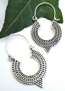 Hoop drop earrings Festival silver colour hippy Indian boho gothic ethnic gift