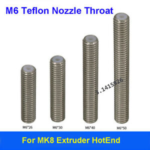 MK8 Extruder PTFE Lined Throat Tube 30 /40/ 50mm For 3D Printer 1.75mm M6 Hotend