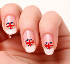 20 Nail Art Decals Transfers Stickers #249 - England Flag Heart