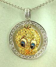 0.82 Carat Diamonds F VS & Sapphire 18k Gold Tweety Bird Pendant w/ Chain