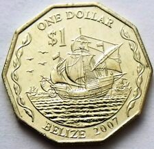 BELIZE 1 DOLLAR 2007 - COLUMBUS THREE SHIPS SAILING 10-SIDED COIN UNC