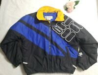Columbia Sportswear Puffer Coat Jacket Mens Sz Large VTG RARE Blue Yellow Black