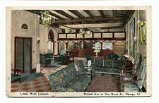 Vintage Postcard CHICAGO HOTEL LORRAINE Lobby Wabash & Van Buren
