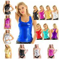 Women Leather Metallic Sleeveless Crop Top Tank Tops Clubwear Party T Shirt Vest