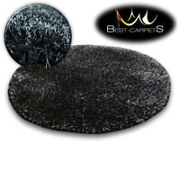 FLUFFY CHEAP SOFT RUGS SHAGGY 'NARIN BLACK' HIGH QUALITY nice in touch CARPETS