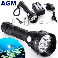 2000Lumen AGM CREE XM-L L2 LED Scuba Diving Flashlight Torch Dive Light to 100m
