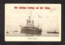 POSTCARD: H.M.S. TRAFALGAR - BRITISH ROYAL NAVY BATTLESHIP - CHRISTMAS GREETINGS
