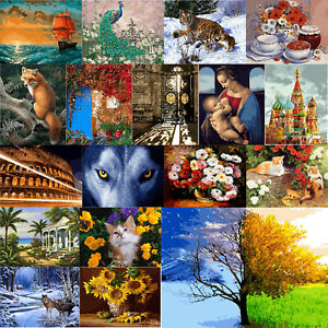 DIY Digital Painting By Numbers Frameless Canvas Tree Picture Modern Wall-Art