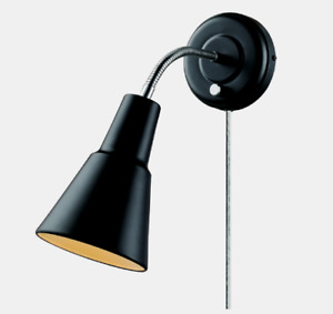 Globe WALL SCONCE Matte Black Goose Neck Mounted Plug-In Or Hardwire 65312 NEW