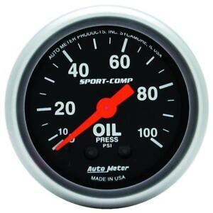 "Auto Meter Oil Pressure Gauge 3321; Sport-Comp 0 to 100 psi 2-1/16"" Mechanical"