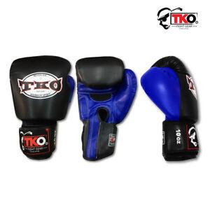 TKO FIGHT GEAR BG1 BLK/BLU MUAY THAI BOXING MMA GLOVES EXPRESS SHIPPING