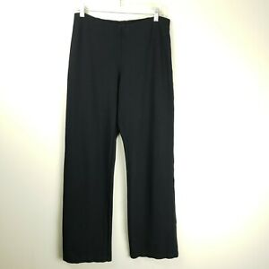 Eileen Fisher Black Pull On Pant Straight Leg Elastic Waist Viscose Blend Medium