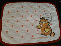 Vtg Lot 2 Garfield Cat Placemat Cotton Fabric Red White Apple I Love Food 1978