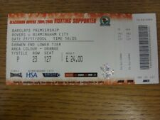 21/11/2004 Ticket: Blackburn Rovers v Birmingham City  (complete). Thank you for