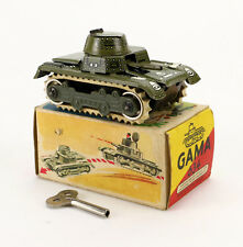 GAMA 634 Tank Blech Panzer Uhrwerk OVP 50's Vintage Wind Up Tin Toy Boxed