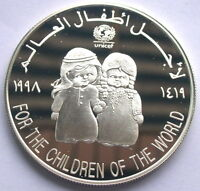 UAE 1998 Save Children 50 Dirhams Silver Coin,Proof