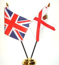 United Kingdom & Channel Islands Jersey Double Friendship Table Flag Set