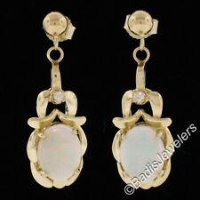 Vintage 14k Yellow Gold Oval Opal & Diamond Post Drop Dangle Earrings
