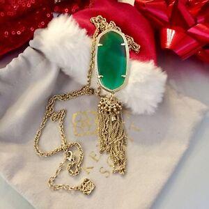 Kendra Scott Rayne Tassel Pendant Necklace Gold Tone Emerald Green