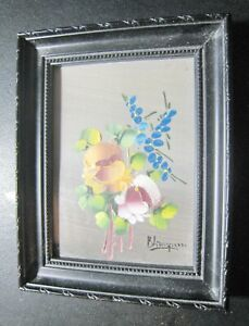 OIL PAINT DIFFERENT FLOWERS HAND MADE VERY OLD GOOD