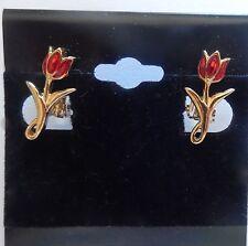 CLIP ON EARRINGS-- tulips red-  flowers gold toned-clip on earrings