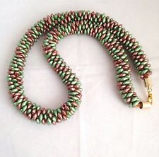 Handmade Brown & Green Acrylic Nugget Beads Chunky Kumihimo Braid Necklace