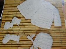 "Knitting Pattern Baby Girl Boy Coat Mittens Bonnet Booties 4 Ply DK 19-20"""