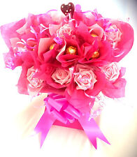 FERRERO ROCHER CHOCOLATE BOUQUET WITH FLOWERS IN PINKS - 10 CHOCOLATES