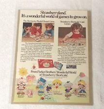 STRAWBERRY SHORTCAKE Board & Card Games PARKER BROTHERS 1980 Original Print Ad