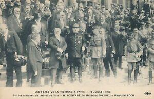 Les Fetes De La Victoire A Paris showing Poincare, Joffre and Foch Patriotic PC