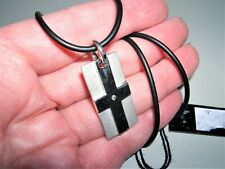 "HOT DIAMONDS Sterling Silver~Diamond Cross Tag Dual Finish 18"" Cord Necklace"