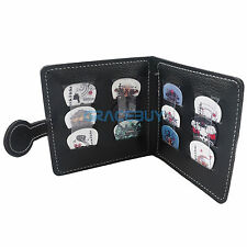 Leather Guitar Picks Holder Bag Picks Wallet Design & 12 FREE Pick Plectrum Gift