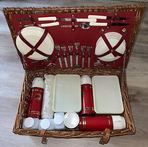 Vintage Sirram Englad Picnic Basket Hamper 6 serving Set