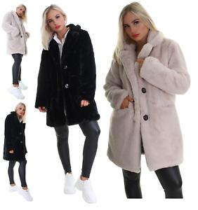 Women Ladies Faux Fur Fluffy Coat Button Jacket Winter Warm Black Design Outwear