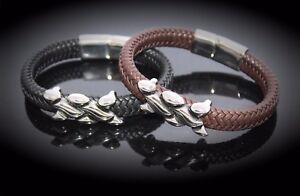 Wide Braid Leather Bracelet with Interwoven Design