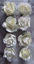 Adhesive White/Cream Paper Roses Card Making Scrapbooking Embellishment NEW