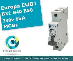 EUROPA EUB1 MCBs B32 B40 B50 230V 6KA Circuit Breakers - USED