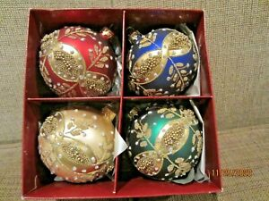 4 blown glass delicately beaded Christmas ornaments Poland NEW Smith & Hawken