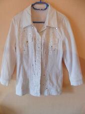 Donna Modar weiße Jeansjacke Blazer Gr.38 Strass Perlen Druckknöpfe neu