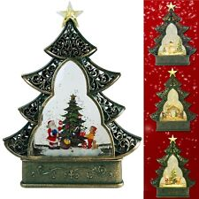 Christmas Snow Globe LED Lighted Tree Battery Operated Swirling Glitter Water